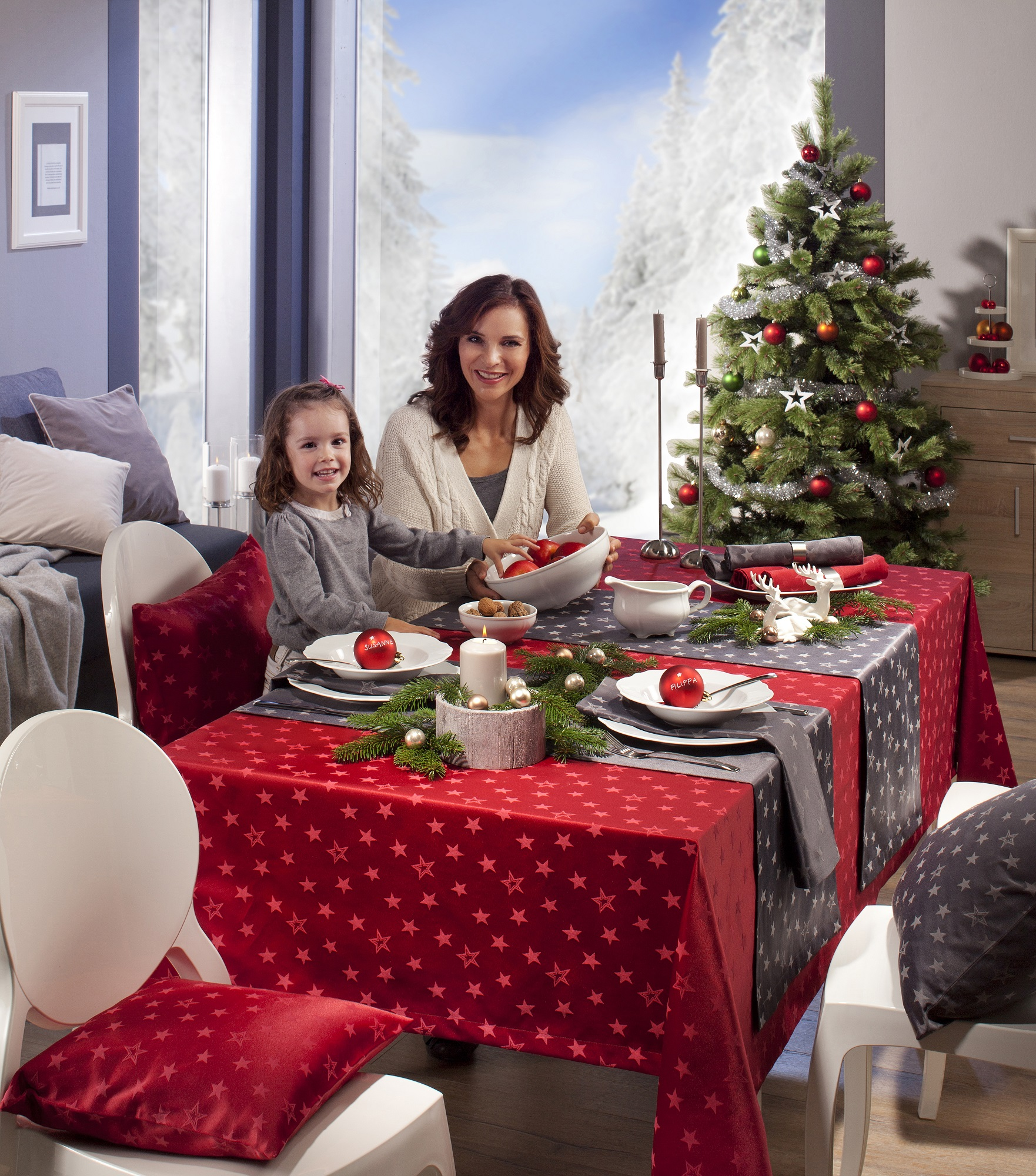 Stimmungsvolle Weihnachten Der Festlich Gedeckte Tisch Genusszeit